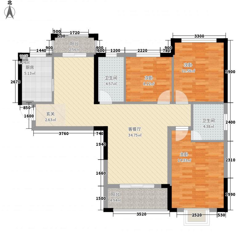 汉水阳湾125.42㎡1号楼B户型3室2厅2卫1厨