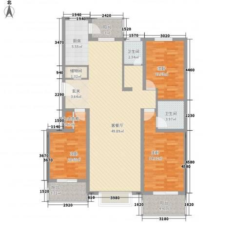 北美枫情3室1厅2卫0厨142.00㎡户型图