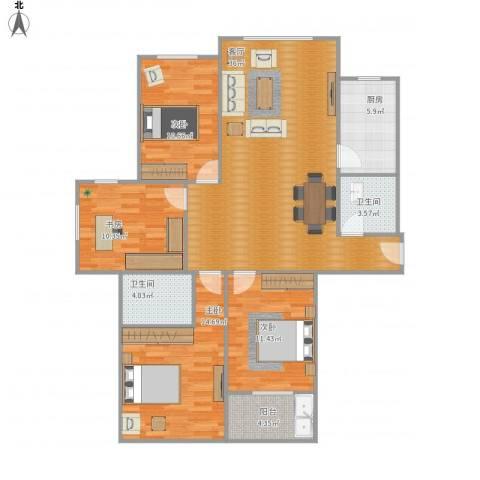 东港嘉苑一区4室1厅2卫1厨136.00㎡户型图