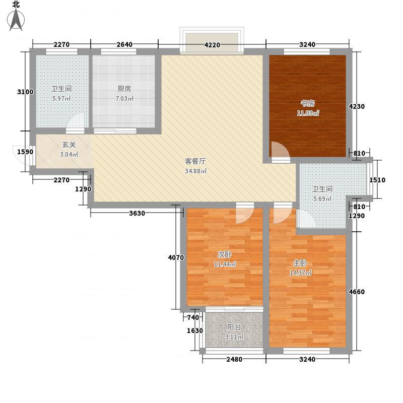 华都金华丽135.00㎡A户型3室2厅2卫1厨