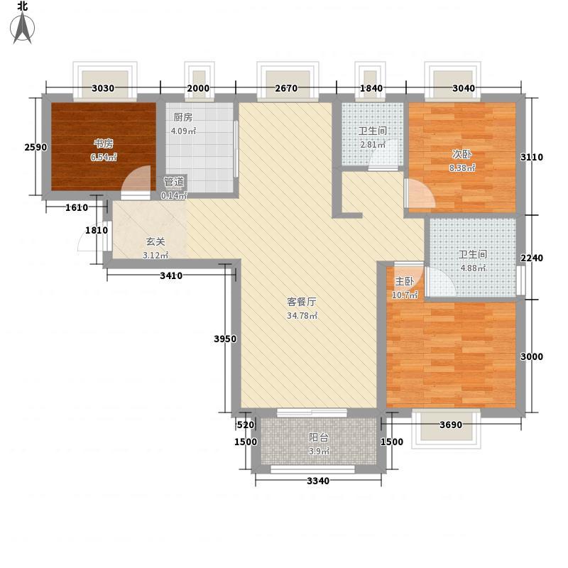 复地东湖国际3室1厅2卫1厨76.23㎡户型图