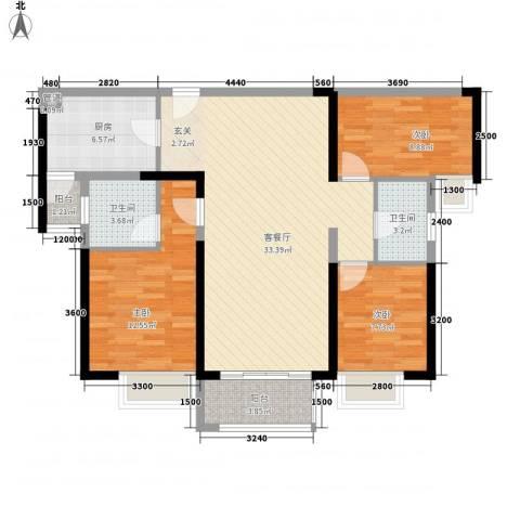 明发・高榜新城3室1厅2卫1厨81.15㎡户型图