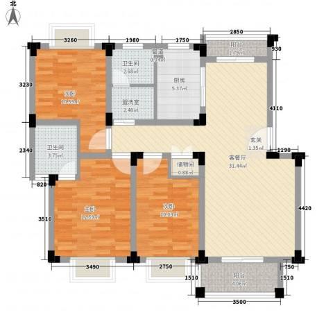 东方花园3室2厅2卫1厨127.00㎡户型图