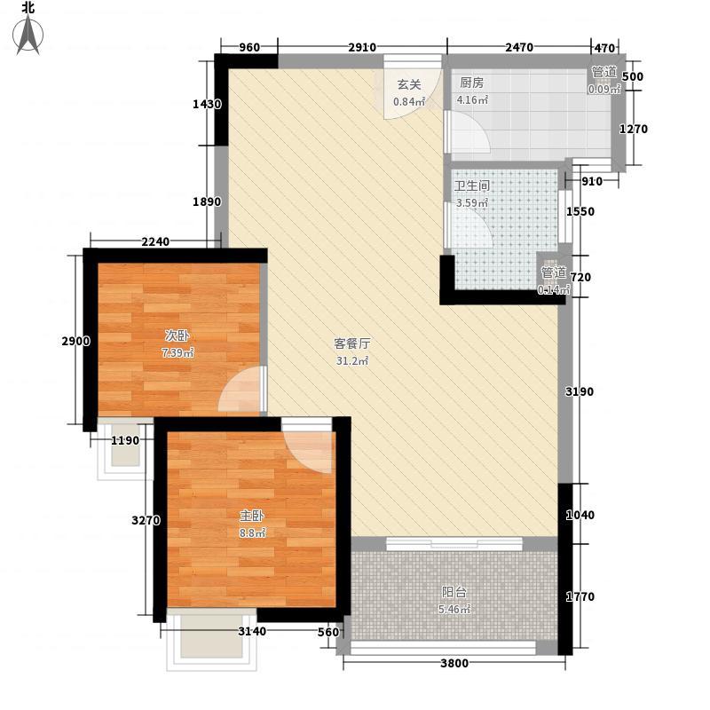 IOI园博湾86.70㎡3#B户型3室2厅1卫1厨