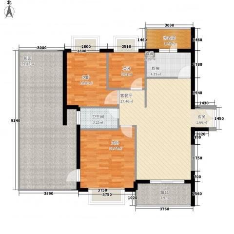 嘉辉豪庭3室1厅1卫1厨103.10㎡户型图