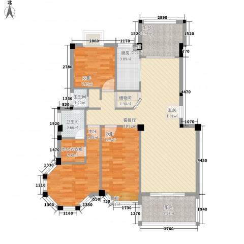 教师新村3室1厅2卫1厨118.00㎡户型图