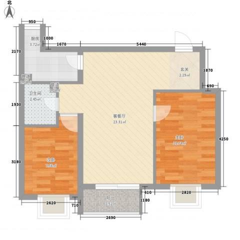 康怡花园2室1厅1卫1厨72.00㎡户型图