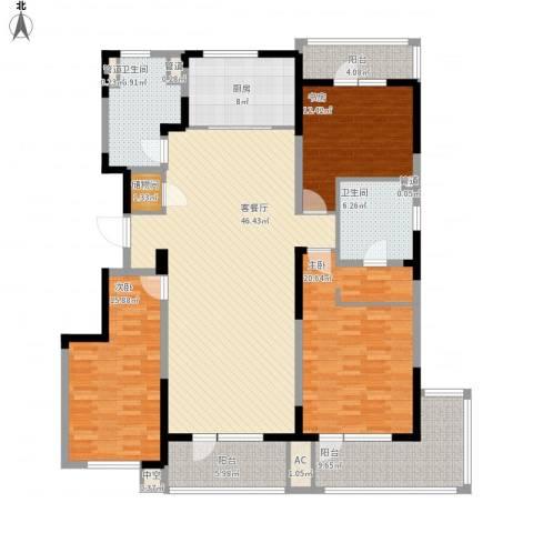 万科金域蓝湾3室1厅2卫1厨199.00㎡户型图