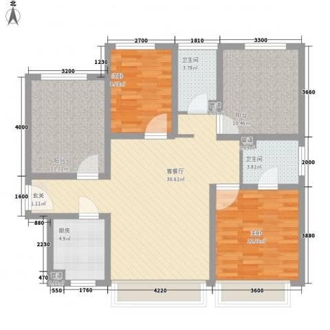英特纳精博苑2室1厅2卫1厨150.00㎡户型图