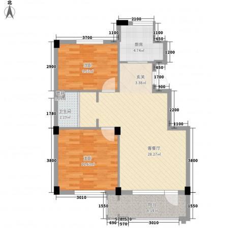 丹田2室1厅1卫1厨85.00㎡户型图