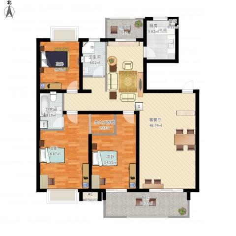 报业园3室1厅2卫1厨169.00㎡户型图