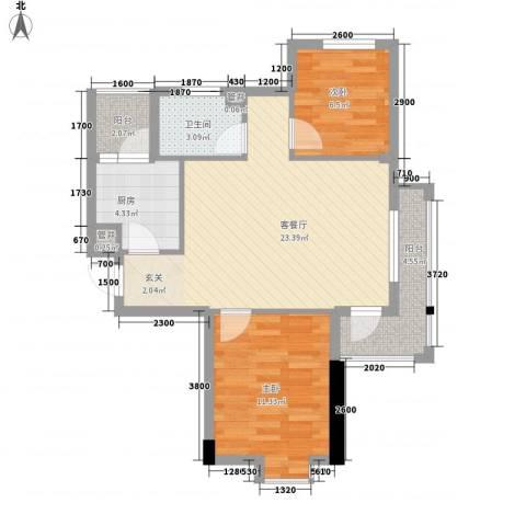 丹田2室1厅1卫1厨80.00㎡户型图