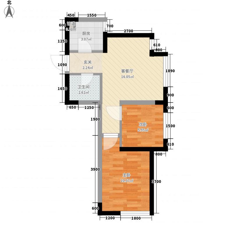 宏发・石榴2室1厅1卫1厨56.00㎡户型图