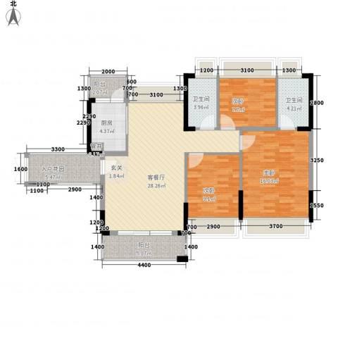 嘉士摩根国际3室1厅2卫1厨123.00㎡户型图