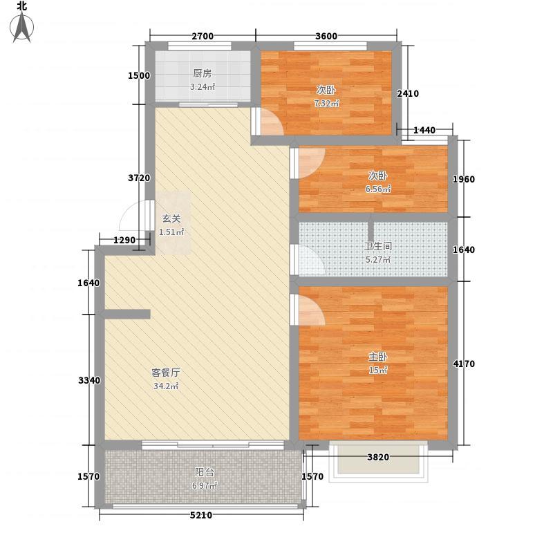 西城鑫苑3室1厅1卫1厨113.00㎡户型图