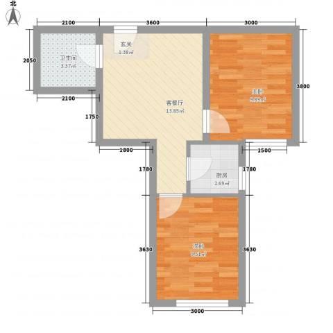 万邦迎泽苑2室1厅1卫1厨39.31㎡户型图
