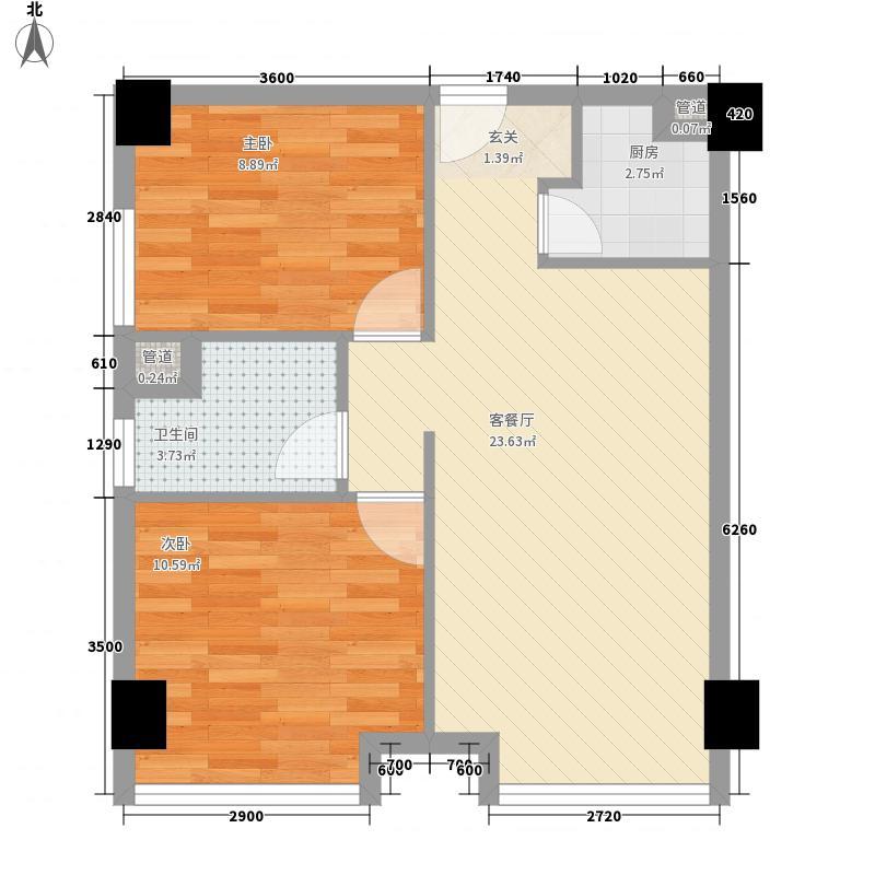 华泰剑桥四期户型2室2厅1卫1厨