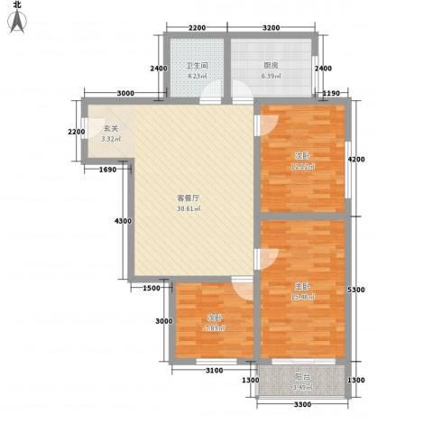 万邦迎泽苑3室1厅1卫1厨117.00㎡户型图