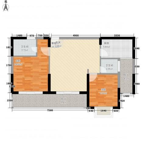 五指山・山水名城2室1厅2卫1厨103.00㎡户型图