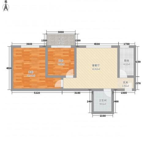 万邦迎泽苑2室1厅1卫1厨84.00㎡户型图