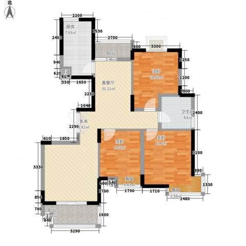 上秦家园3室1厅1卫1厨83.83㎡户型图