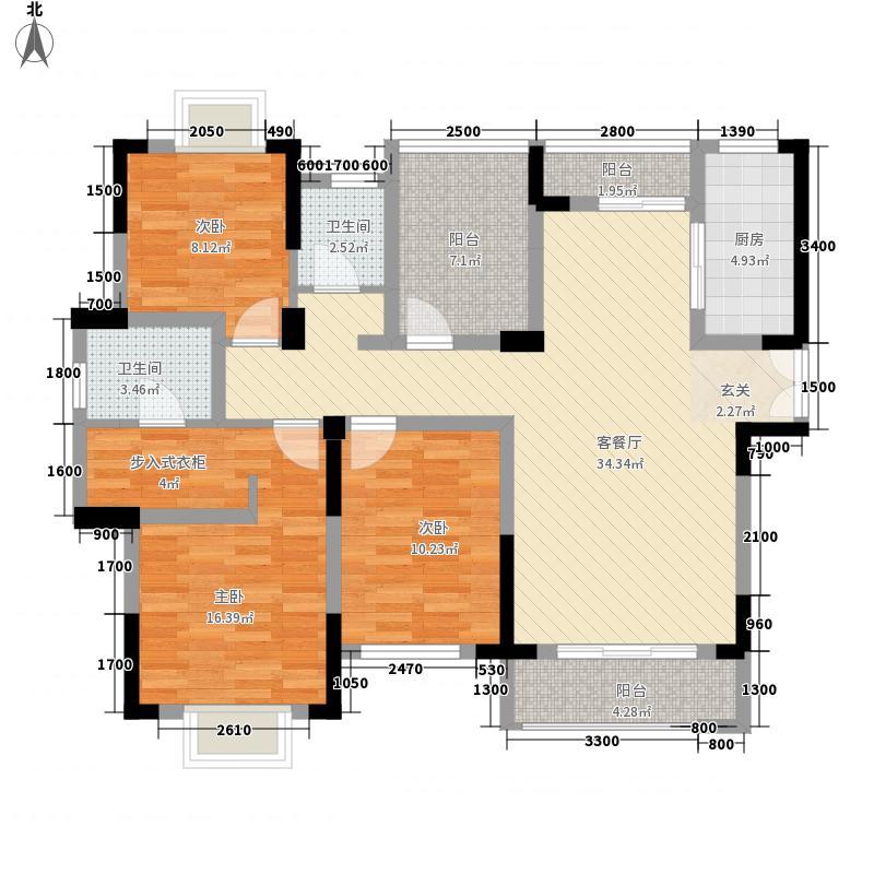 德昌瑞园128.00㎡A6户型3室2厅2卫1厨