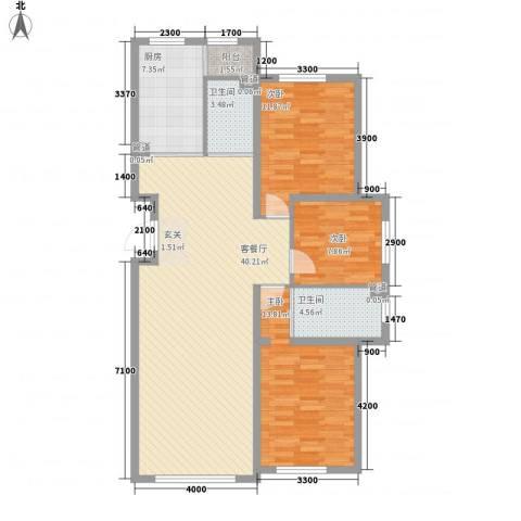 兆丰嘉座3室1厅2卫1厨125.00㎡户型图