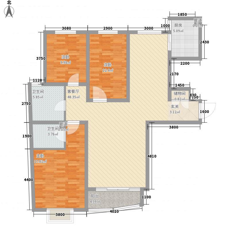 鸿运润园CⅢ155.00㎡户cb2-1户型3室2厅2卫1厨