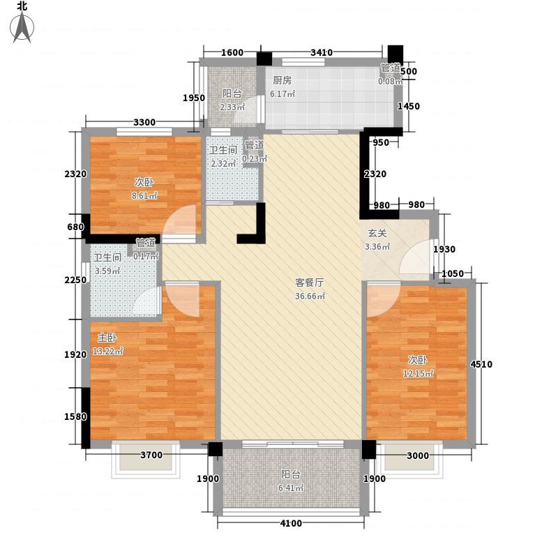 碧桂园逸泉山庄117.00㎡洋房YJ115-A户型3室2厅2卫1厨