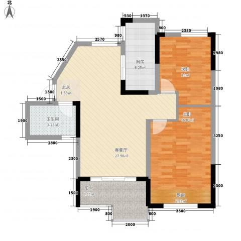 大华锦绣华城2室1厅1卫1厨102.00㎡户型图