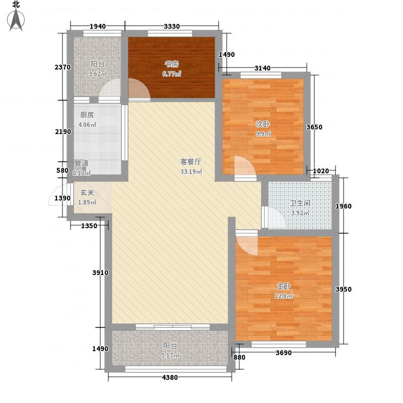 帝华凯旋城115.10㎡C户型3室2厅1卫1厨