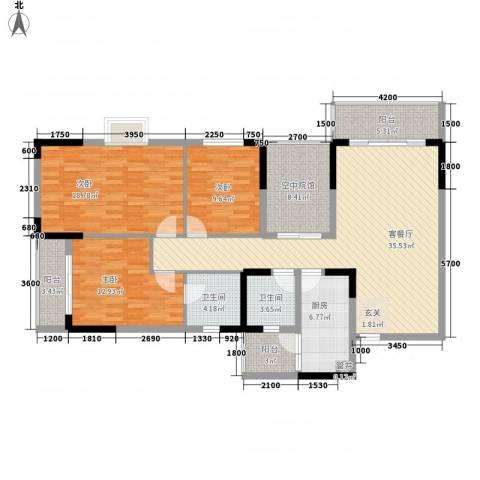 睿力凤凰城3室1厅2卫1厨159.00㎡户型图