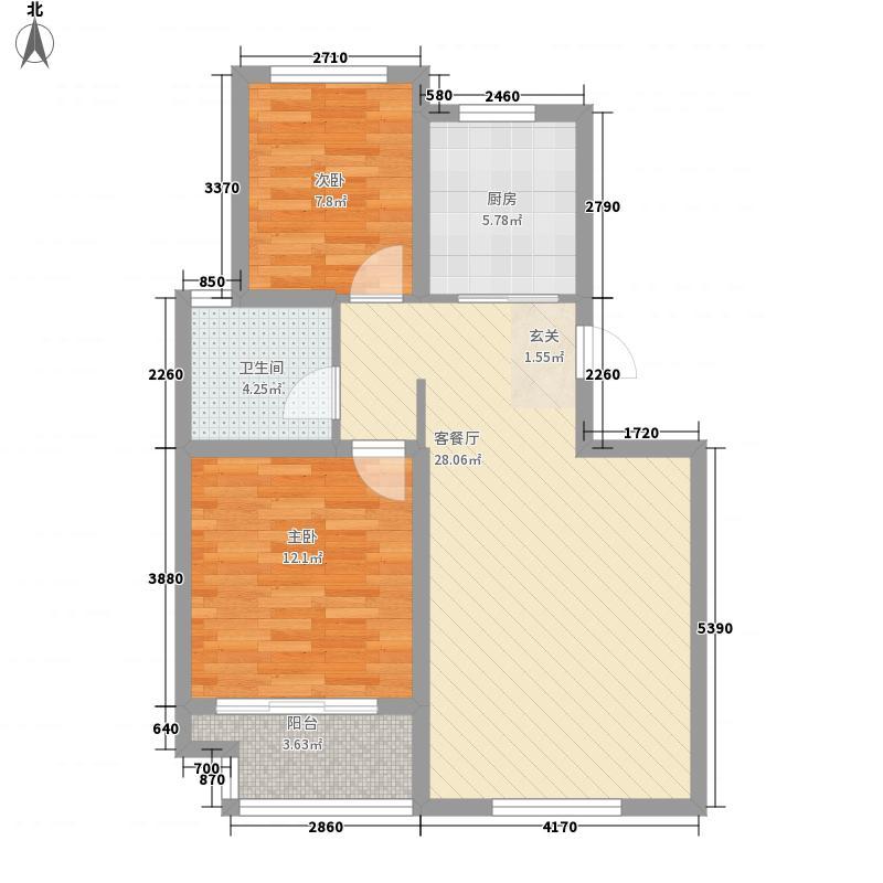御福林88.35㎡B6户型2室2厅1卫1厨