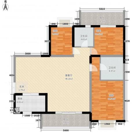世纪豪庭3室1厅2卫1厨148.00㎡户型图