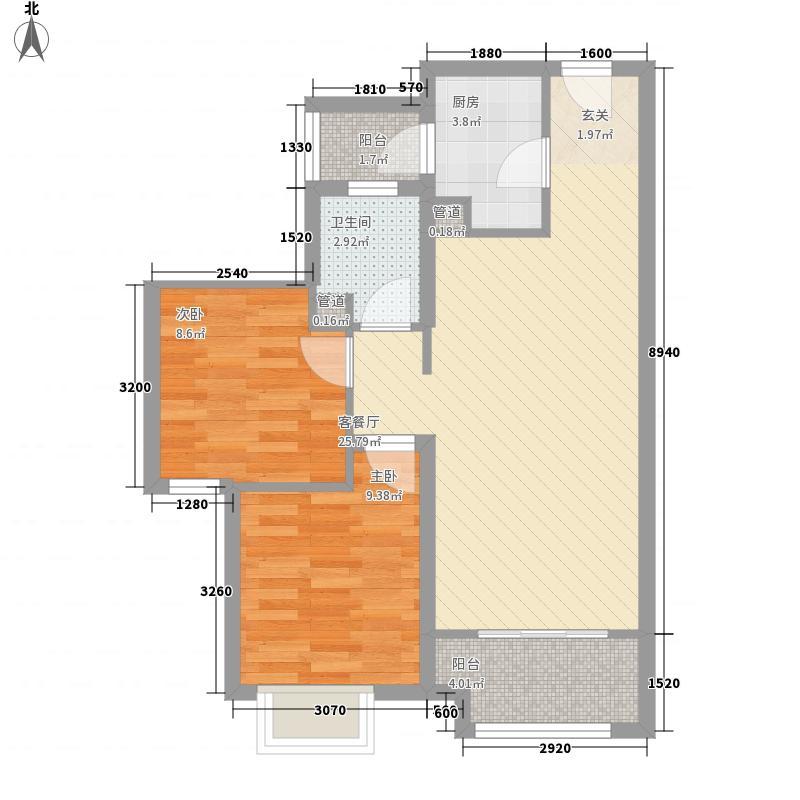 港中旅・海泉湾86.00㎡一期北区3、6、8号楼A1-a户型2室2厅1卫1厨