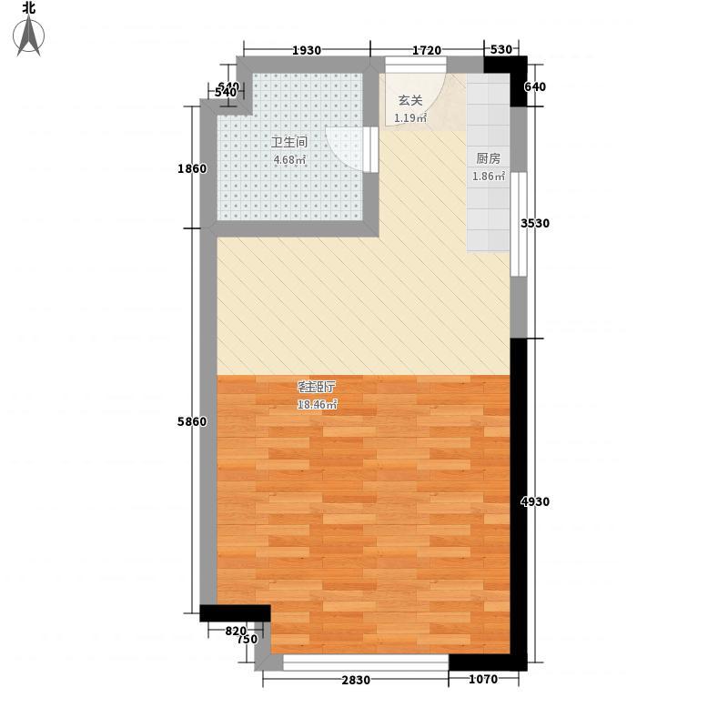 逍遥途家斯维登酒店52.37㎡B户型1室1厅1卫1厨