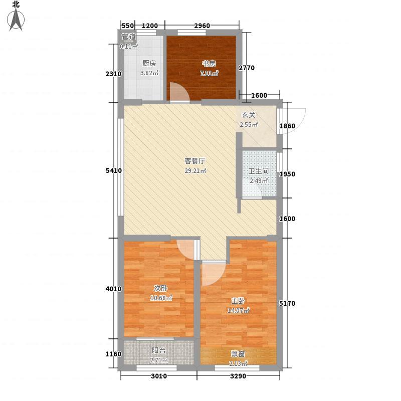 西溪永乐城3室1厅1卫1厨100.00㎡户型图