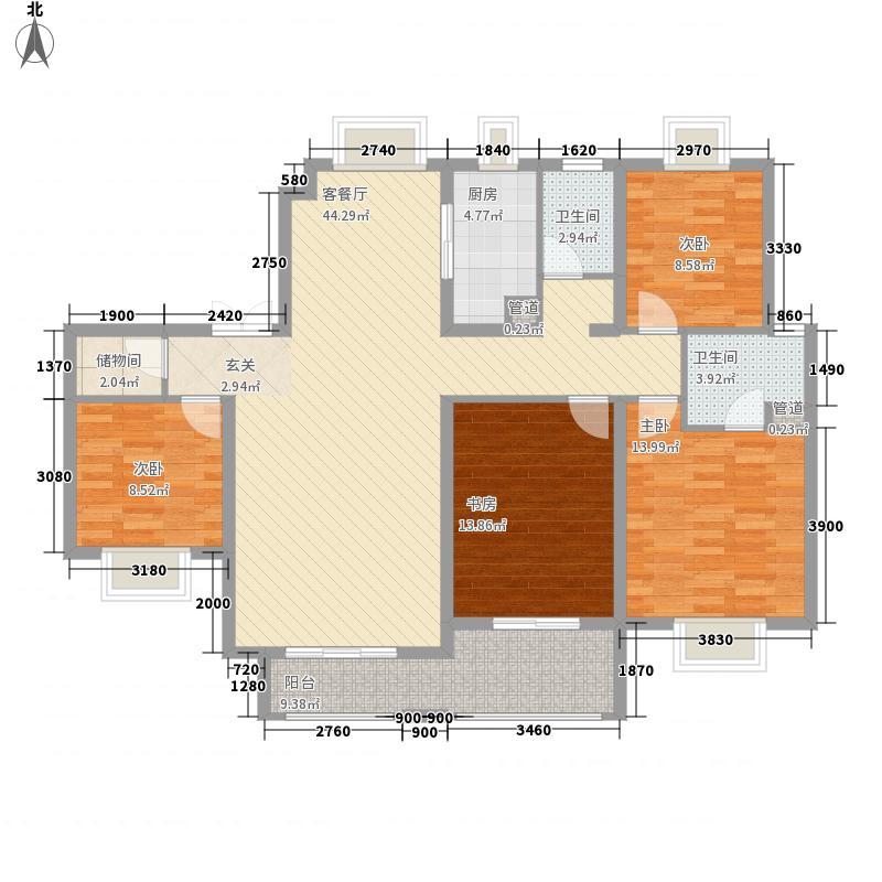 复地东湖国际4室1厅2卫1厨112.76㎡户型图