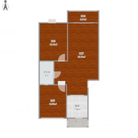 汇文名邸2室1厅1卫1厨115.00㎡户型图