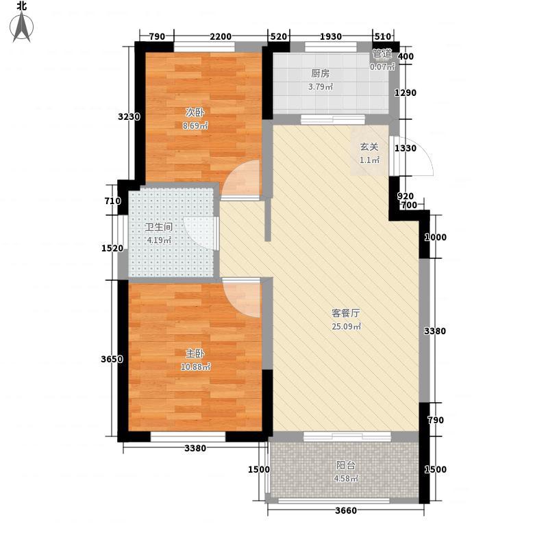 青特・赫山82.00㎡12期58#59#60#高层户型2室2厅1卫1厨