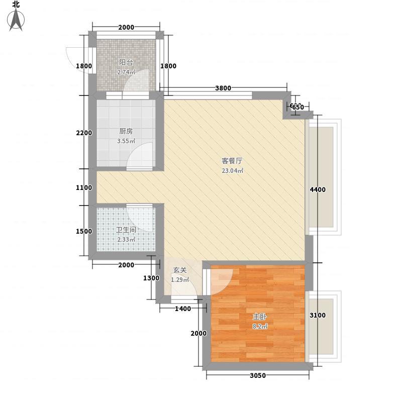 泛华林与湖2号楼D户型1室2厅1卫