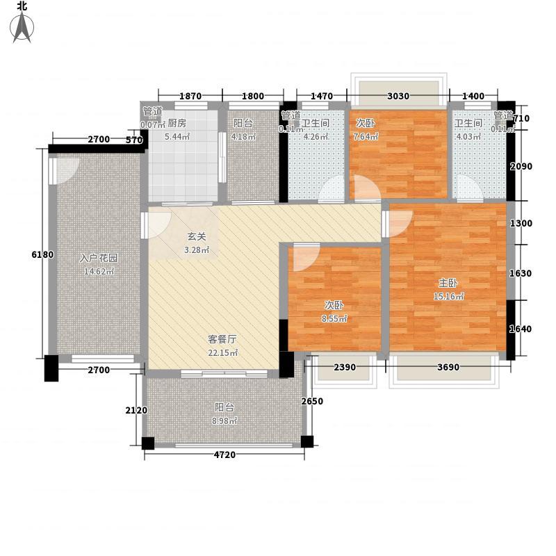 金碧丽江西海岸3室1厅2卫1厨95.31㎡户型图