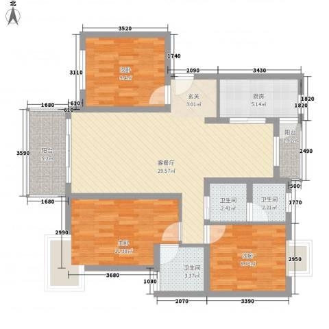 富华苑3室1厅3卫1厨115.00㎡户型图