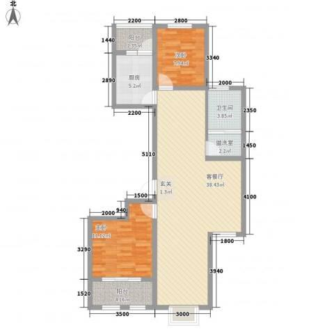 清平花园2室2厅1卫1厨75.23㎡户型图