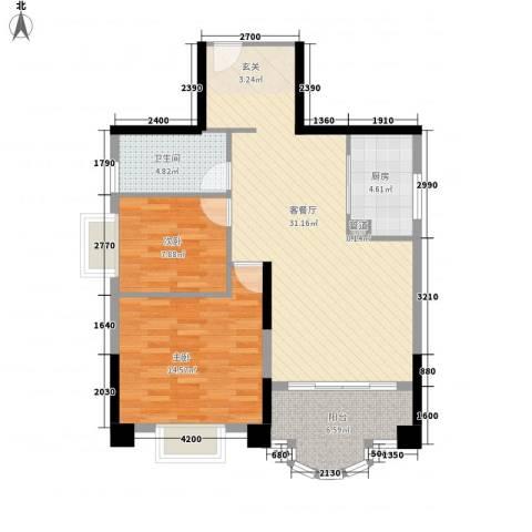 御峰臻品2室1厅1卫1厨69.77㎡户型图