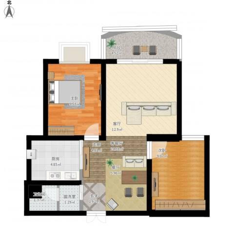 崇城国际2室1厅1卫1厨81.00㎡户型图
