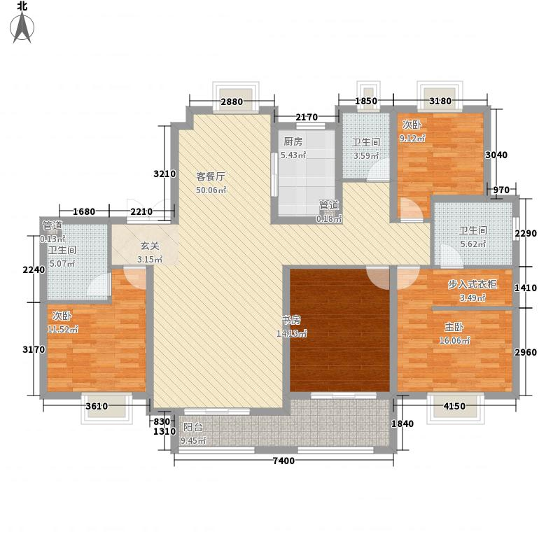 复地东湖国际4室1厅3卫1厨185.00㎡户型图