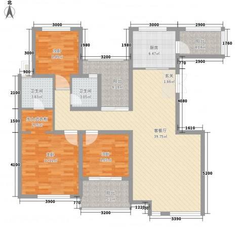 金地国际花园3室1厅2卫1厨137.00㎡户型图