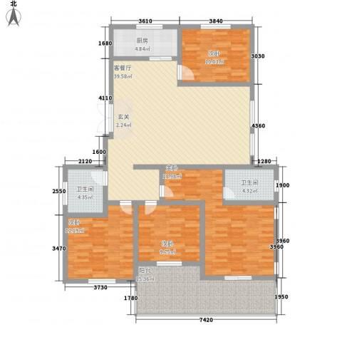蓝柏湾4室1厅2卫1厨172.00㎡户型图