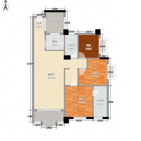 御峰臻品3室1厅2卫1厨117.00㎡户型图